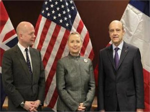 UN : British Foreign Sec William Hague, left, United States Sec of State Hillary Clinton and French Foreign Minister Alain Juppe before their meeting. PTI
