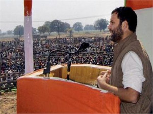 Rahul Gandhi addressing rally
