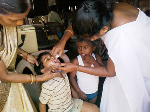 A polio course been administered to a child