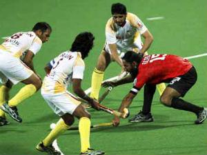 Action from Delhi vs Karnataka game