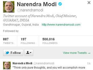 Narendra Modi Twitter page