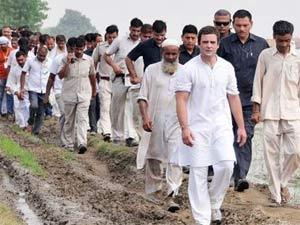 Rahul Gandhi in a rally in Uttar Pradesh