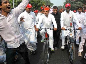 Akilesh Yadav in a rally in UP