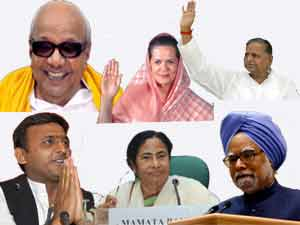 Sonia Gandhi, Manmohan Singh, Karunanidhi, Akhilesh Yadav, Mulayam, Mamata Banerjee