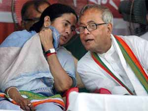 Mamata Banerjee and Pranab Mukherjee