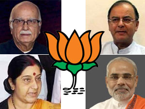 BJP flag with Arun Jaitly, Narendra Modi, Sushma Swaraj and LK Advani