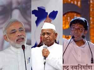 Narendra Modi, Anna Hazare and Raj Thackeray
