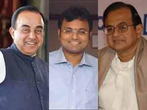 Subramanian Swamy, Karti Chidambaram and P Chidambaram