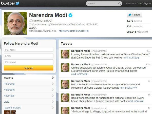 Narendra Modi's Twitter Page