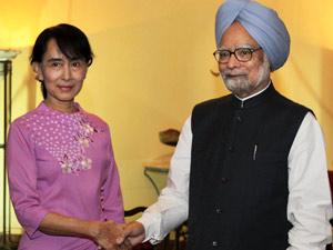 Suu Kyi-Manmohan Singh
