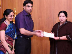 Jaya hands over Rs 2 cr to Anand