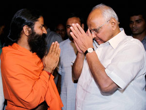Setback for Cong, Pawar supports Ramdev