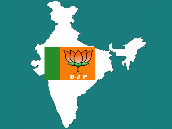 BJP flag in India map