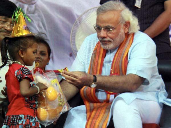 Narendra Modi with child