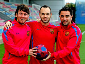 Lionel Messi, Andres Iniesta and Xavi Hernendez