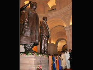 Mayawati with her statues