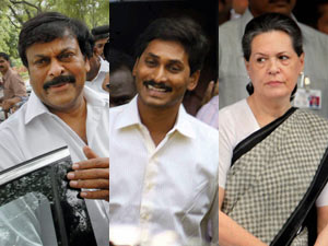 Chiranjeevi, Jagan and Sonia Gandhi