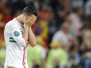 Cristiano Ronaldo reacts during penalty shoot-out against Spain