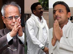 Pranab Mukherjee, Mukhtar Ansari and Akhilesh Yadav
