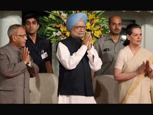 Pranab Mukherjee, Manmohan Singh and Sonia Gandhi