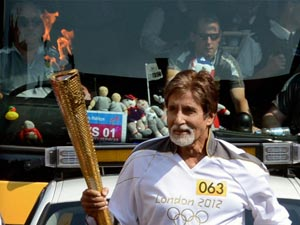 Amitabh Bachchan with Olympic torch