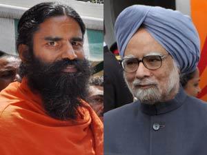 Baba Ramdev and Manmohan Singh