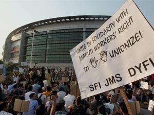 Protest at Maruti plant