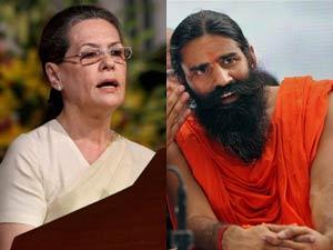 Sonia Gandhi and Baba Ramdev