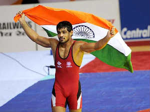 Wrestling:Sushil storms into semi-final