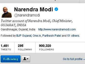 Modi's followers on Twitter cross 9 lakh