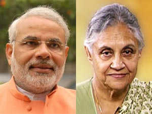 Narendra Modi and Sheila Dikshit