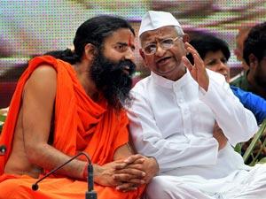 Baba Ramdev with Anna