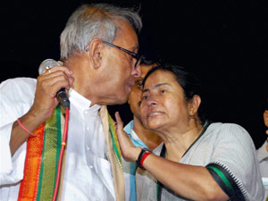 Pranab with Mamata