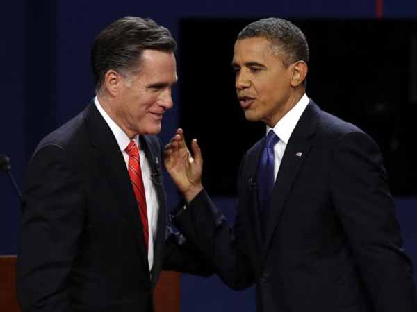 US presidential election candidates Mitt Romney and Barrack Obama