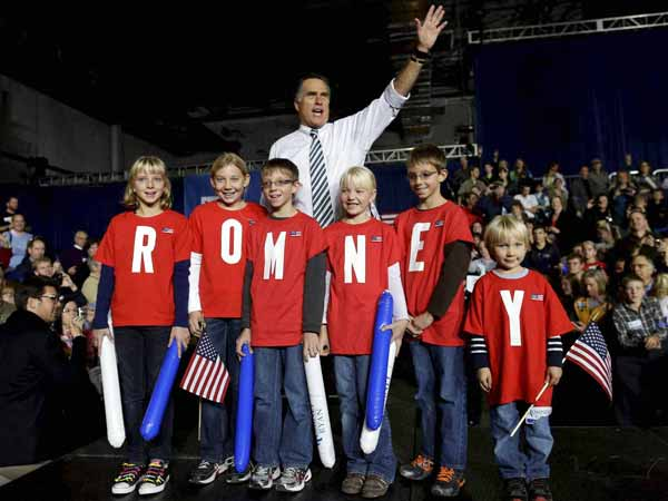 Mitt Romney and his junior supporters