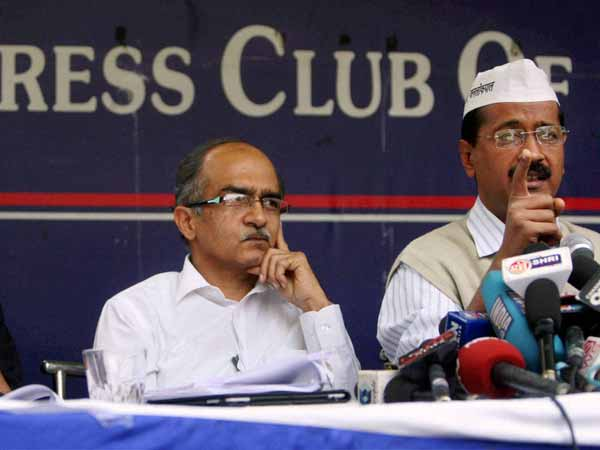 Arvind Kejriwal and Prashant Bhushan