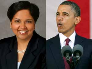 Barack Obama and Indra Nooyi
