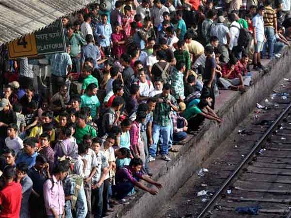 Northeastern people wait for train in Bangalore to return home