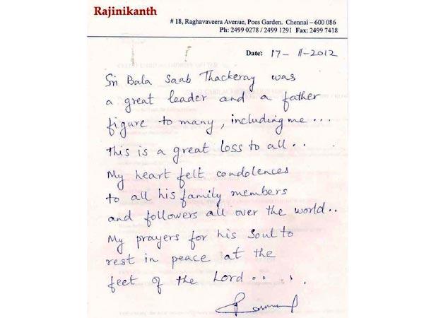 Rajinikanth Letter