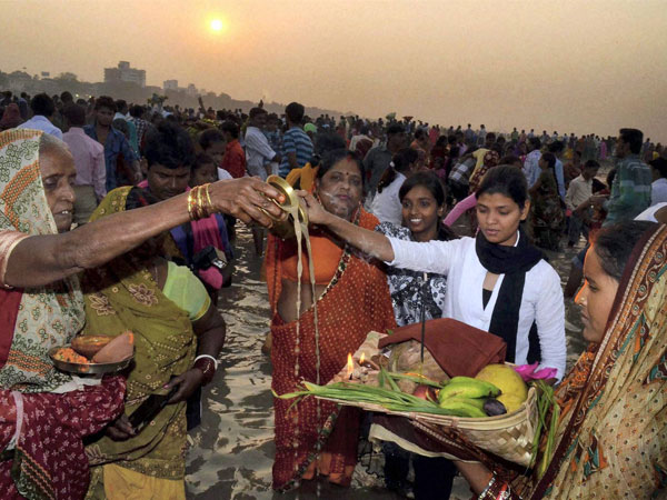 Women devotees during Chhath Puja