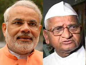 Narendra Modi Anna Hazare