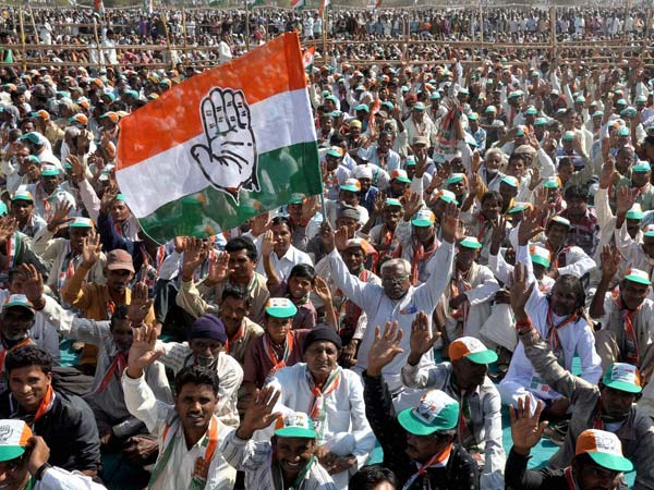 Congress supporters at a rally
