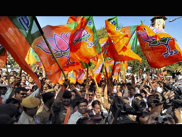 BJP workers wave party flags