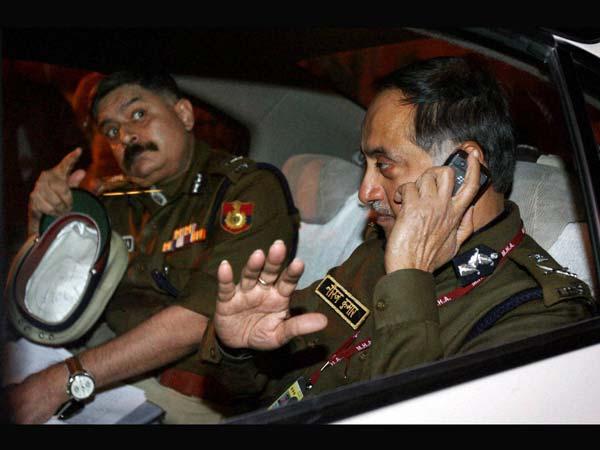Delhi Police Commissioner Neeraj Kumar with Special Commissioner of Delhi Police Dharmendra Kumar
