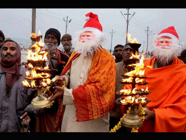 Hindu devotees dressed as Santa