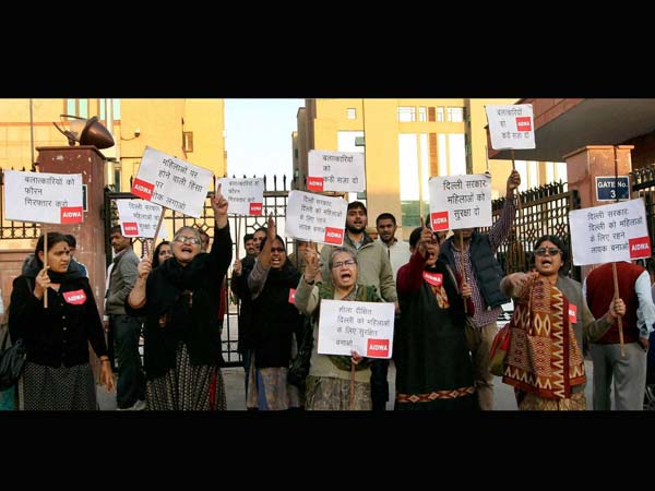 Aidwa activists stage a protest