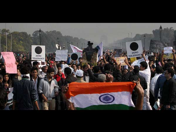 Protest with tricolours and placards