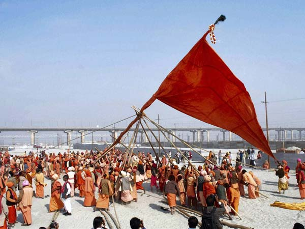 Sadhus take part in the Dharm Dhwaja