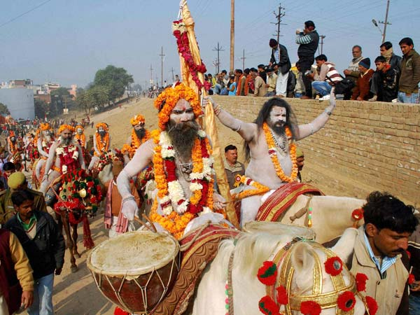 Mahanirvani Akhara Naga sadhus take out a religious procession