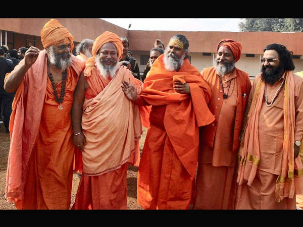 Sadhus after attending a meeting with Mela officers